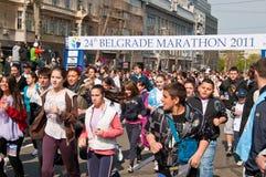 24ème passage 2 d'amusement de marathon de Belgrade Image libre de droits