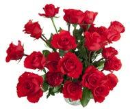 24个玻璃玫瑰花瓶 免版税库存图片