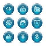 24个球玻璃图标设置了万维网 免版税图库摄影