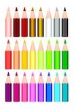 24 χρωματισμένα μολύβια Στοκ φωτογραφία με δικαίωμα ελεύθερης χρήσης
