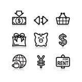 24 черных иконы установили сеть Стоковое Изображение RF