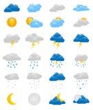 套24个五颜六色的天气象 免版税库存照片