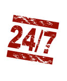 24/7. Stylized red stamp showing the shortcut 24/7 like it is used to show something is open daily. All on white background Royalty Free Stock Photography