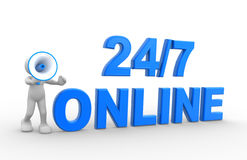 24/7. 3d people - man, person with a megaphone and text  24/7 online Royalty Free Stock Image