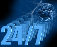 24/7 - Abra sempre 3D Fotografia de Stock
