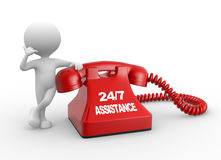 24/7 Assistance. 3d people - man, person and phone. Assistance Stock Image