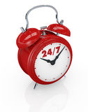 24/7 availability. One vintage alarm clock with text: 24/7, concept of always available (3d render Stock Photo