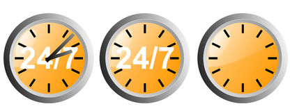 24/7 button icon. Vector art of a 24/7 button icon Stock Image