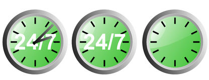 24/7 clock. Vector art of a clock with 24/7 marking Royalty Free Stock Photos