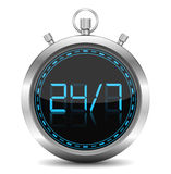 24/7 Concept. Illustration of stopwatch - 24/7 Concept Royalty Free Stock Image