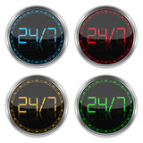 24/7 Concept. Round badges with numbers 24/7 Stock Image