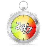 24/7 Concept. With Timer icon,  on white, vector illustration Royalty Free Stock Image