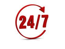 24/7 de símbolo Foto de Stock Royalty Free