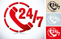 24/7 de signes illustration stock