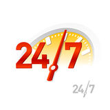 24/7 de sinal. Vetor. ilustração stock