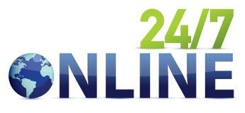 24 7 en ligne illustration de vecteur