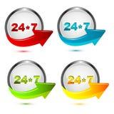 24*7  icon. Illustration of 24*7 icon on white background Stock Image