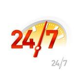 24/7 muestra. Vector. Imágenes de archivo libres de regalías