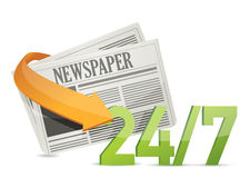 24 7 news, newspaper concept. Illustration design Royalty Free Stock Photo