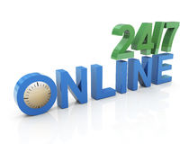 24/7 online. 3d render of twenty four hours/seven days online Stock Image