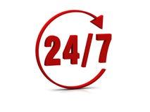 24/7 símbolo Foto de archivo libre de regalías