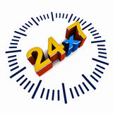 24 by 7 schedule. Help available 24 hours a day, 7 days a week, support and coverage concept Stock Image