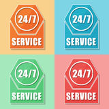 24/7 service, four colors web icons Royalty Free Stock Images