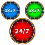 24/7 service icon. Three multi-colored service icons on a white background Royalty Free Stock Images