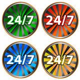 24/7 service icon. Four multi-colored service icons on a white background Royalty Free Stock Image