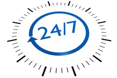 24/7 Sign Royalty Free Stock Photography