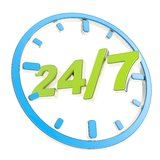 24/7 twenty four hour seven days a week. Glossy green amd blue round emblem icon isolated on white background Stock Photo