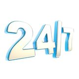 24/7 twenty four hour seven days a week emblem icon. 24/7 twenty four hour seven days a week glossy chrome silver metal and blue plastic emblem icon isolated on Stock Photos