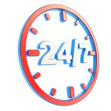 24/7 twenty four hour seven days a week emblem icon. 24/7 twenty four hour seven days a week glossy red and blue plastic round emblem icon isolated on white Stock Images