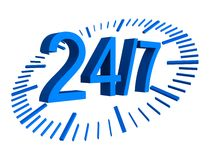 24/7 work concept blue numbers. 3d Stock Photo