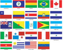 24 Americas Flags Royalty Free Stock Photo