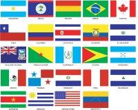 24 bandeiras de Americas Foto de Stock Royalty Free