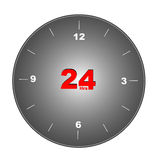 24 Clock. 24 Round clock in white background Stock Photo