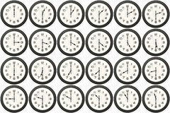 24 clocks every half hour Royalty Free Stock Photo