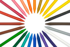 24-color crayon in circle. With clipping path Royalty Free Stock Image