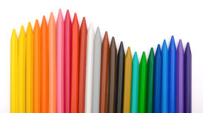 24-color crayon lined up in row. With clipping path Stock Images