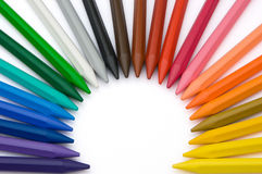 24-color crayons like a rising sun. 24-color crayons shape as a rising sun Royalty Free Stock Photography