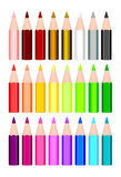 24 colored pencils. Realistic 24 colored pencils  Drawing Royalty Free Stock Photo