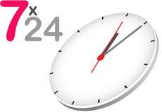 24/concetto di sette giorni di settimana Fotografia Stock