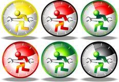 24 conjuntos de la insignia del mantenimiento de la hora Imagenes de archivo