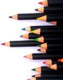 24 färgblyertspenna royaltyfri fotografi