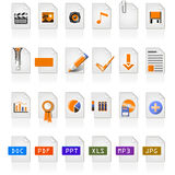 24 file icons. Of different file format Stock Photo