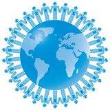 24. Global Teamwork in blue. Rasterized Royalty Free Stock Image