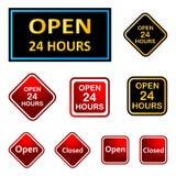 24 godzina otwierają ilustracja wektor