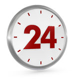 24 h availability. One clock with the number 24 on the center, concept of full availability (3d render Stock Photography