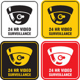 24 H Video surveillance camera. Video surveillance camera sign. CCTV 24 H Royalty Free Stock Photos